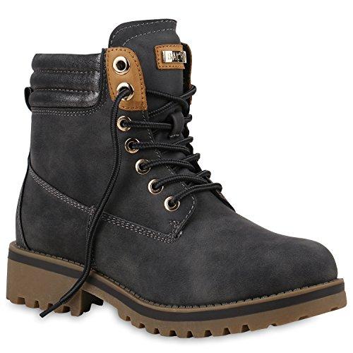 Stiefelparadies Damen Stiefeletten Worker Boots mit Blockabsatz Metallic Profilsohle Flandell Grau Cabanas