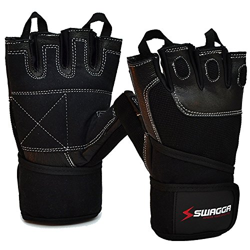 SALE -50% | Workout Weight Lifting Gloves for Men/Women by Swagga - Ideal Protection for CrossFit Training Powerlifting Gym Workouts - Natural Leather Breathable Materials with 12 Wrist Wraps by Generic