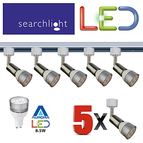 SEARCHLIGHT LED GU10 SATIN SILVER TRACK LIGHTING 5 X SPOT LIGHTS - 5 X 8.5 WATT LED GU10 INCLUDED - 2 METRE LENGTH - GREAT KITCHEN LIGHT / OFFICE / SHOP LIGHTING - BRIGHT LED'S 50,000 HOUR LIFE - ENERGY SAVING - STS [Energy Class A] SEARCHLIGHT BY STS PRG
