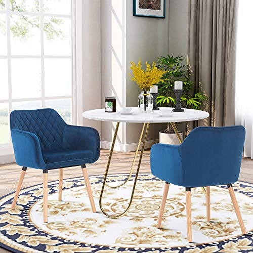 G-house Fabric Accent Chair Home Dining Chair Dark Blue Velvet Armchair with Wood Leg 2 Pack