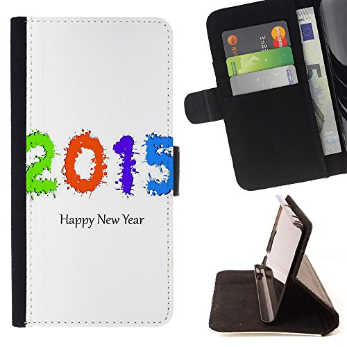 ICE CASE - FOR Apple Iphone 7 - New Year - Painting Art Smile Face Style Design PU Leather Flip Stand Case Cover