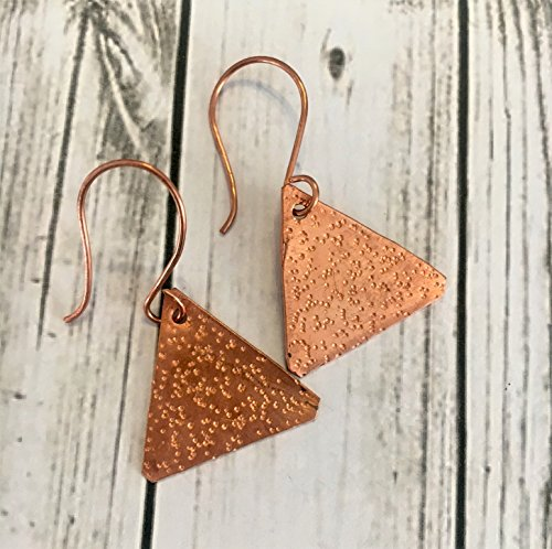 Handmade Textured Copper Triangle Earrings - Textured Copper Ring