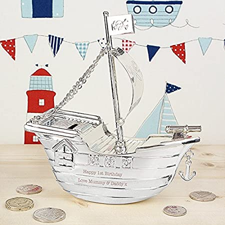 Personalised Silver Plated Pirate Ship Money Box Engraved Childrens Gift