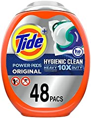 Tide Hygienic Clean Heavy 10x Duty Power PODS Laundry Detergent Pacs, Original, 48 count, For Visible and Invi