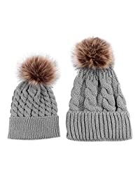 2PCS Parent-child Hat, Mother Baby Warm Knit Hat Fur Wool Beanie Ski Cap