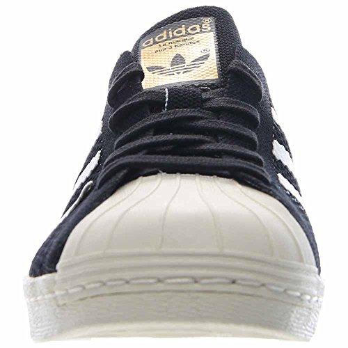 Superstar 80 de Mens Primeknit En Negro / blanco por Adidas, 9,5 Black-White