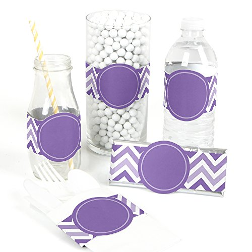 (Chevron Purple - DIY Party Supplies - Bridal, Baby Shower Birthday Party DIY Wrapper Favors & Decorations - Set of)