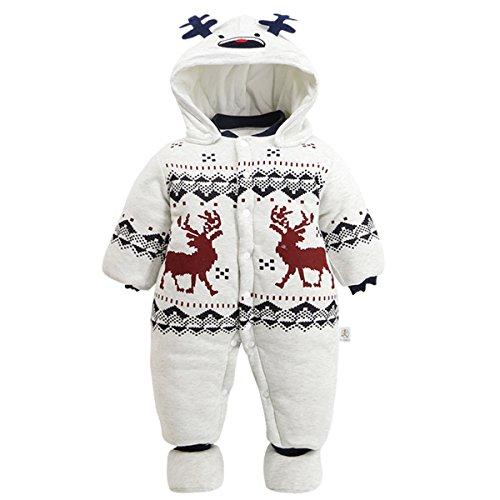 Mombebe Baby Christmas Elk Hoodie Romper with Shoes (6-9 Months, Snowman) -