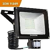 30W Security Light Motion Sensor Outdoor Light PIR LED Floodlight Outside Garden External Waterproof SAMHUE 2500lumen Floodlight With Se