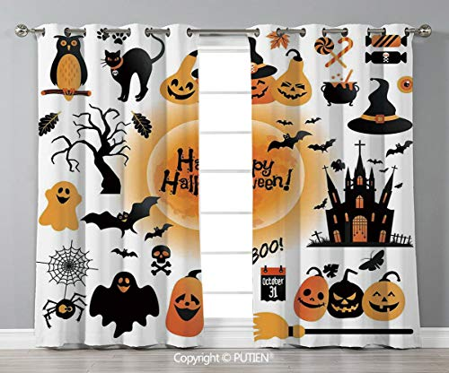 Grommet Blackout Window Curtains Drapes [ Halloween Decorations,All Hallows Day Objects Haunted House Owl and Trick or Treat Candy,Orange Black ] for Living Room Bedroom Dorm Room Classroom Kitchen -
