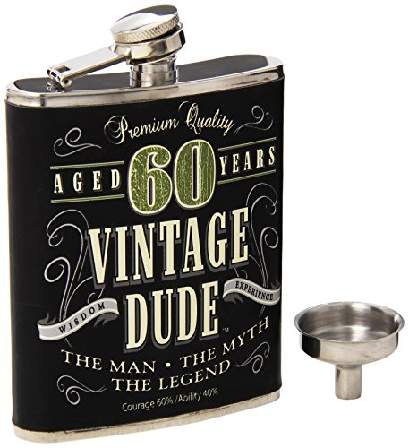 Laid Back CF11020 60Th Bd Vintage Dude Flask, 7 oz, Multicolor -