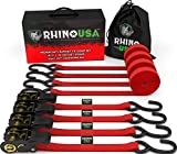 """RHINO USA Ratchet Tie Down Straps (4PK) - 1,823lb Guaranteed Max Break Strength, Includes (4) Premium 1"""" x 15' Rachet Tie Downs with Padded Handles. Best for Moving, Securing Cargo (RED): more info"""