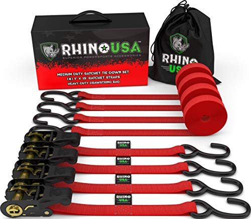 RHINO USA Ratchet Tie Down Straps (4PK) - 1,823lb Guaranteed Max Break Strength, Includes (4) Premium 1 x 15 Rachet Tie Downs with Padded Handles. Best for Moving, Securing Cargo (RED)