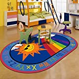 LISIBOOO Cartoon Anti-Skid Kids Area Rugs,ABC with Numbers,Oval Child Large Carpet,for Boys Girls Babies Playroom Bedroom Study Room Nursery Living Room Bathroom (3'3''x5'2'', Sun-Rainbow)