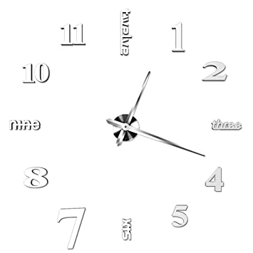 Reloj de pared con adhesivo de bricolaje, CONMING Reloj de pared con acrílico de espejo numérico Reloj moderno sin marco decorativo con gran marco 3D ...
