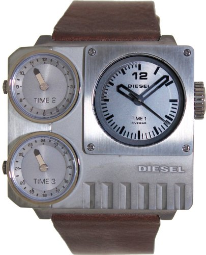 Diesel #DZ7249 Men's SBA Leather Strap Triple Time Zone Oversize Square Watch