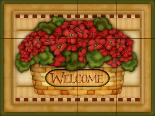Welcome Hydrangea (Ceramic Tile Mural - Hydrangea Welcome Basket - by Angela Anderson - Kitchen backsplash / Bathroom shower)