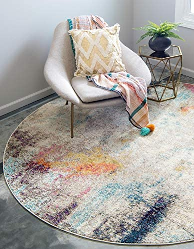 Unique Loom Chromatic Collection Modern Abstract Colorful Beige Round Rug 6 0 x 6 0