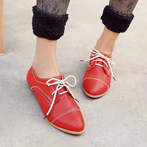 Show Shine Womens Fashion Scarpe A Punta Tacco Basso Oxford Scarpe Rosse