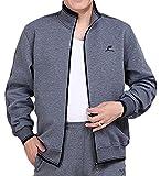 Pandapang Mens Sweatsuit Full-Zip Sports Jackets Sweatpants Tracksuits Gray X-Small