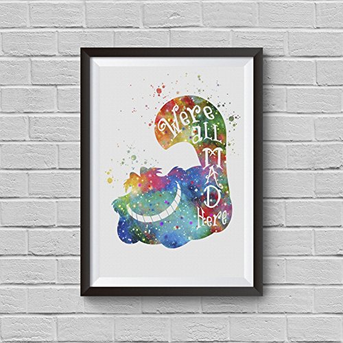 Cat Watercolor (Cheshire Cat Print, Alice Wonderland, Cheshire Cat Art, Disney Poster Watercolor Print Animal Nursery Art We are all mad here Kitchen Art For Kids Wedding Gift Wall Hanging Kid's Room Art)