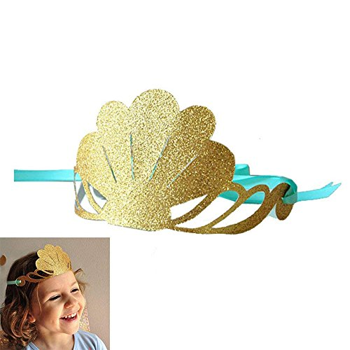 Mermaid Theme Party Hats Glitter Gold Shell Crown Blue Sea Mermaid 12Pcs for Kid Birthday Party Decoration by GOCROWN -