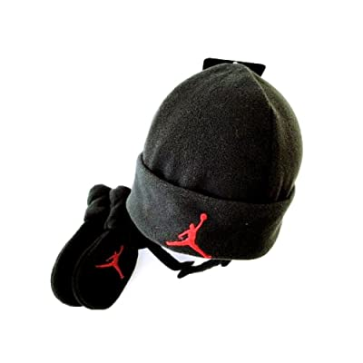 0d5812cf1f1 Nike Jordan Baby Fleece Hat and Mittens Set - Black Red - 12 24 Months