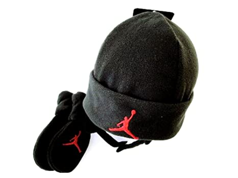 b9fa99d443112d Image Unavailable. Image not available for. Color  Nike Jordan Baby Fleece  Hat and Mittens Set - Black Red ...