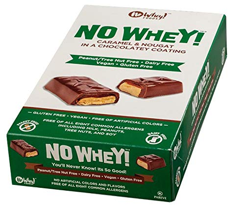 No Whey - Chocolate Candy Nougat and Caramel Bars (12 Pack) - Vegan, Dairy Free, Peanut Free, Nut Free, Soy Free, Gluten Free
