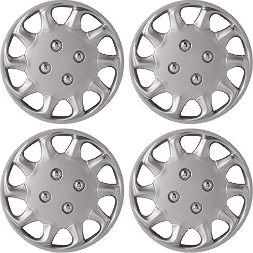 14' Silver Wheel Cover Hub Caps Set Of 4 Pieces Universal Set WC15SL