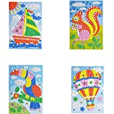 Mosaic Sticker Art Sticky DIY Handmade Art Kits for Kids Puzzle Sticker Educational Toy-Sailboat, Squirrel, Woodpecker, hot air Balloon Pattern (1set) HN0005A--5D