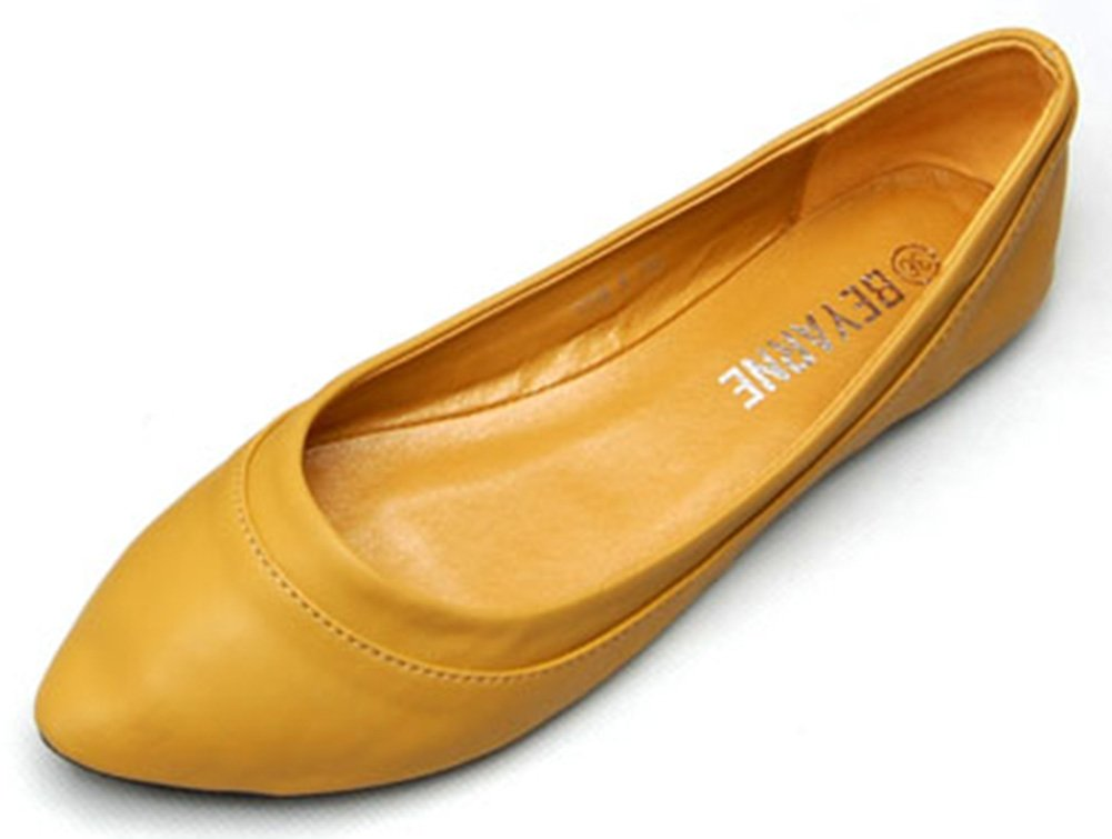 Sfnld Women's Casual Pointy Low Cut Flats Slip On Shoes Yellow 4.5 B(M) US