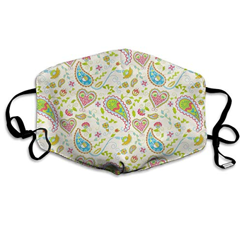 Rainbow Magnet Paisley Tribal Flu Dust Washable Cute Mouth Face Mask with Carbon Filter Insert&Adjustable Straps, Dust Pollen Flu Germs Allergens Masks for Women Men ()