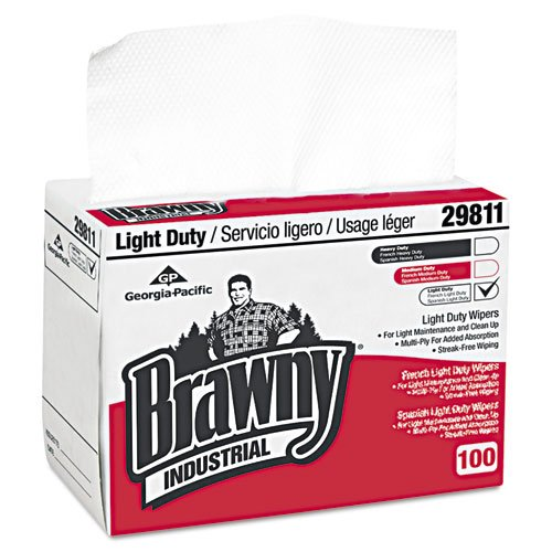 Georgia Pacific� Professional Brawny Industrial Light Duty Paper Wipers, 8 x 12 1/2, 2960/Case by Georgia Pacific Professional
