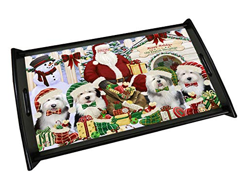 Happy Holidays Christmas Old English Sheepdogs Dog House Gathering Wood Serving Tray TRP48896