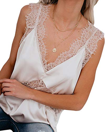 - Valphsio Women's V Neck Sleeveless Lace Trim Spaghetti Strap Camisole Cami Tank Top White