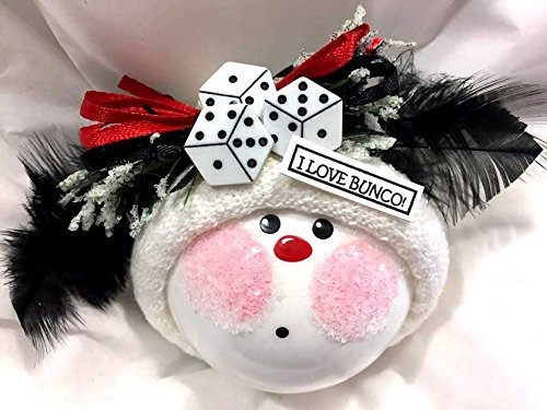 Bunco Ornament Christmas K Black Feathers Dice I Love Bunco Black Ribbons Personalized Handmade Hand Painted Townsend Custom Gifts - K - Feather Christmas Top Hat