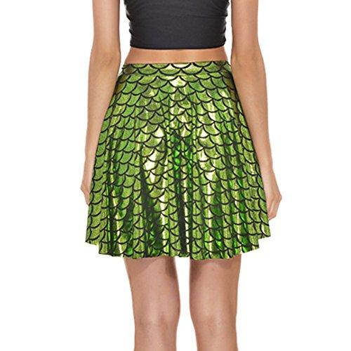 Verde Escalas Luz Sirena Verano Mujeres Juleya Mini Faldas Falda Cortas 6BzEq