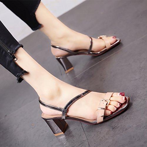 Tacones Zapatos Sandalias Ymfie Dedos B De Y Altos Damas Gruesos Moda Nuevo Verano qCw1cwXI