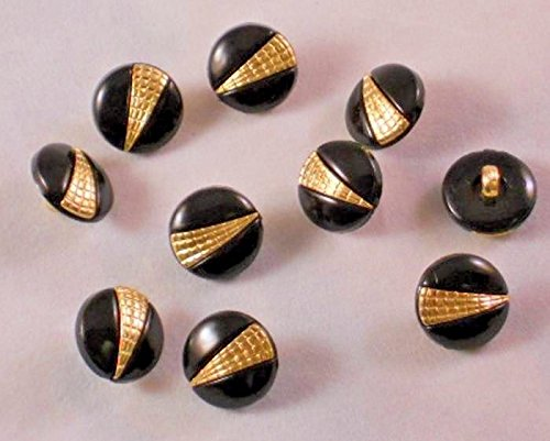 5/8'' 15 mm Black and Gold Plastic Shank Buttons - 12 Pieces -