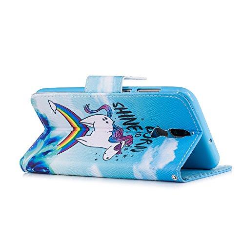 Artfeel Huawei Mate 10 Lite Hülle Flip Brieftasche,Premium PU Ledertasche mit Kredit kartenfach,Mode Bunte Muster Design Buch Hülle mit Ständer Magnetverschluss und Geldbörse Slim Fit Innere Weiche TP Regenbogen Pferd