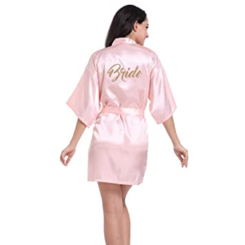 Image Unavailable. Image not available for. Color  Datework Women s Pure  Half Sleeves Short Kimono Silk Robe Sleepwear For Bride Wedding Party ... efc87ba57