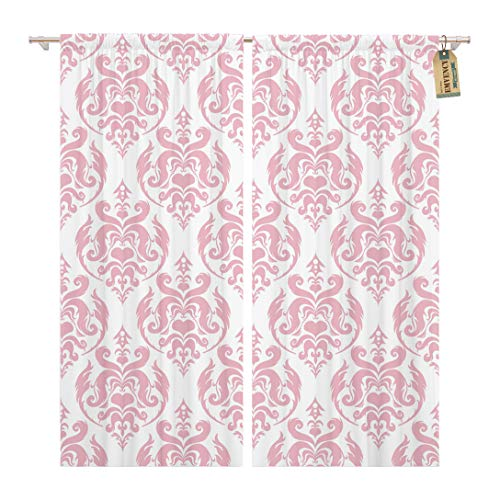 - Golee Window Curtain Vintage Pink Damask Ornamental Victorian Abstract Antique Baroque Beauty Home Decor Rod Pocket Drapes 2 Panels Curtain 104 x 96 inches
