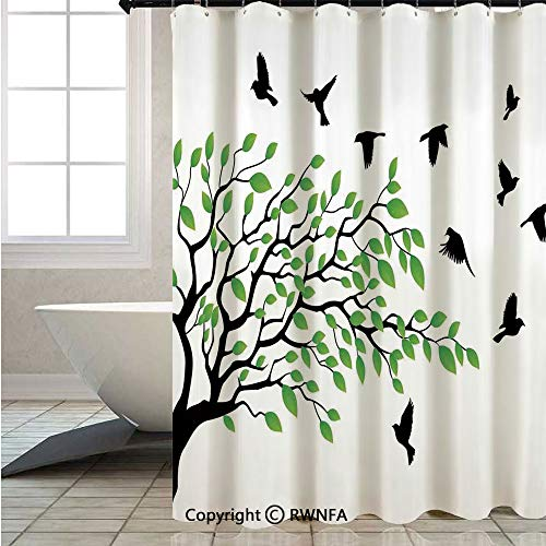 - RWNFA Shower Curtain,Spring-Tree-with-Silhouette-of-Flyind-Birds-Wind-Liberty-Peace-Design-Living,W72xL78.7inch,Waterproof Suitable for Hotel Home Bathroom,Green-Black-White