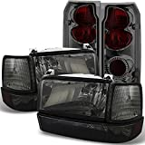 08 dodge ram smoked headlights - 1992-1996 Ford F150 F250 F350 Smoked Headlights+ Corner+ Bumper Lamps+ Tail Brake Lights
