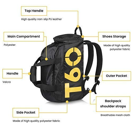 934f9c05cc19 EVIoX Sports Holdall Duffle Backpack Gym Bag + FREE Microfibre Sports Towel