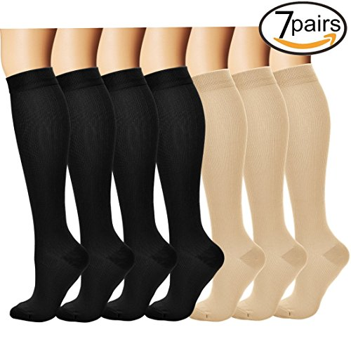 7 Pairs Compression Socks For Women and Men - Best Medical, Nursing, for Running, Athletic, Edema, Diabetic, Varicose Veins, Travel, Pregnancy & Maternity - 15-20mmHg, Small / Medium,  Assorted - Ladies Best