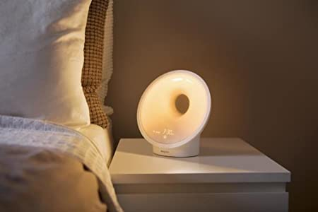 Philips Smartsleep Sleep & Wake-up Light Therapy Lamp, With Sunrise Alarm & Sunset Fading Night Light, White (HF3650/60)