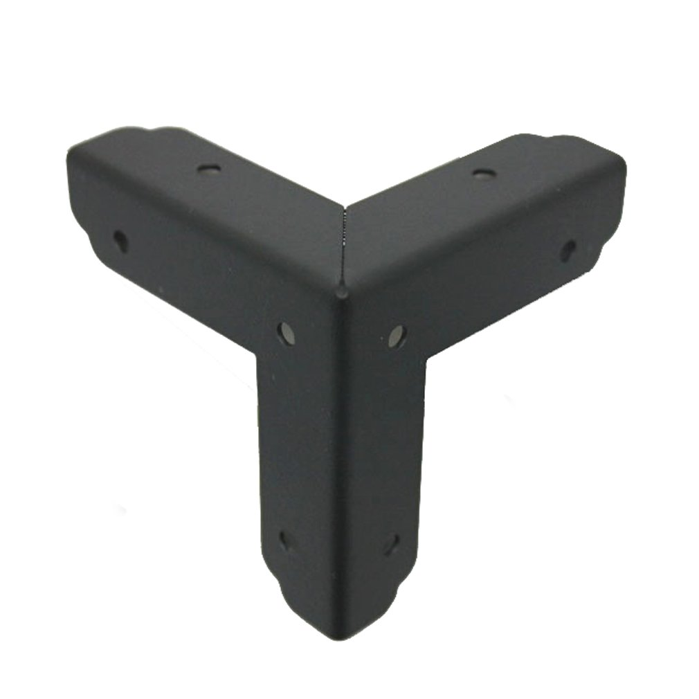 Pack of 4 Black Plated Metal 50x50x50mm Box Furniture Corners Hardware CN2206