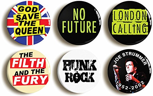 [Punk Rock Button Pin Set (Size is 1inch Diameter) Seventies Costume Party] (70s Punk Costumes)